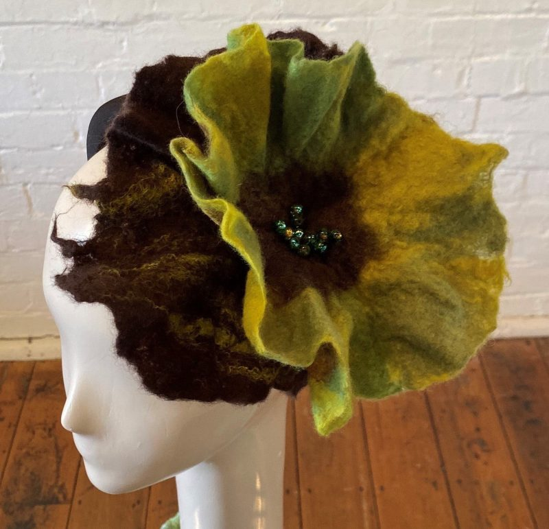Beautiful felted floral green and brown headpiece