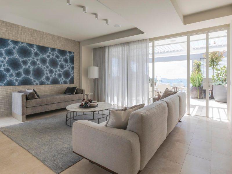 the light-filled living room