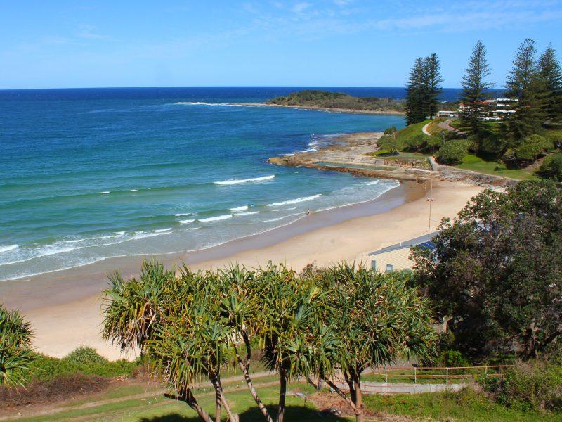 View of Yamba Main Beach from the pub balcony.
