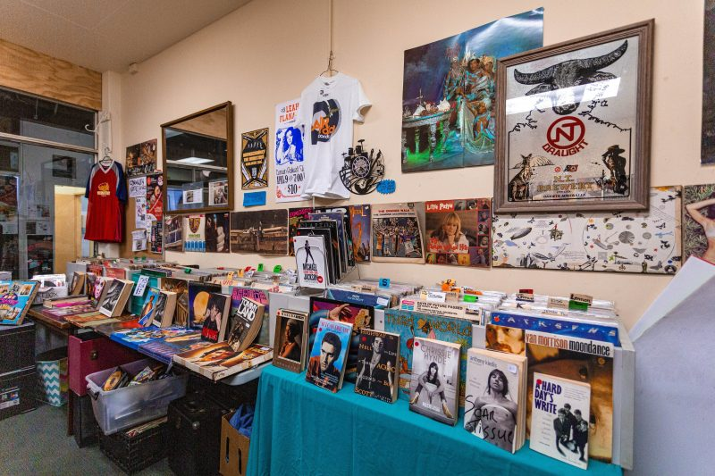 We stock vinyl, CDs, books, t-shirts and more