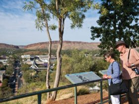 A couple reading informational signage on top of Anzac Hill in Alice Springs