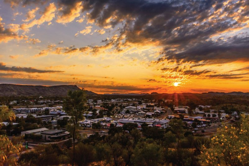 A sunset over Alice Springs viewed from Anzac Hill