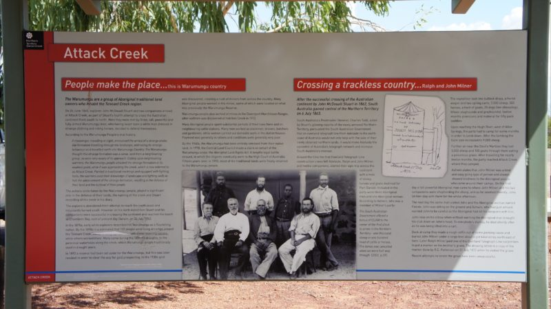 Detail of high quality interpretive signage at Attack Creek Memorial.