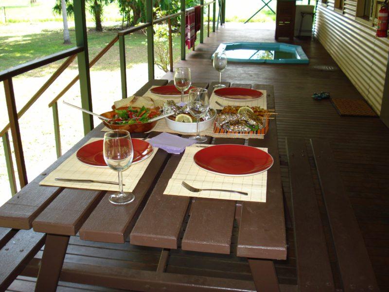 Alfresco Dining on verandah with spa