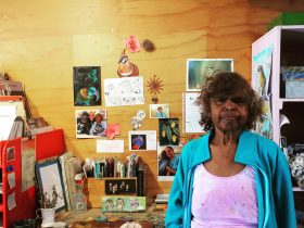 Jane Mervin at her desk in the Bindi Mwerre Anthurre Artists Studio