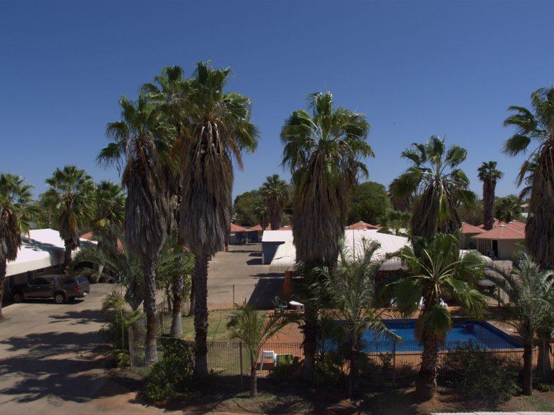 Bluestone Motor Inn, view of pool and motel