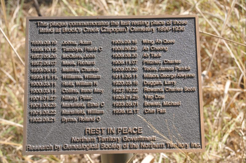 Plaque erected by the NT Government at the site