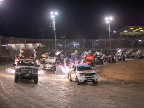 Sprintcars 4 wide parade lap behind the pace car and fireworks before the final race of the series