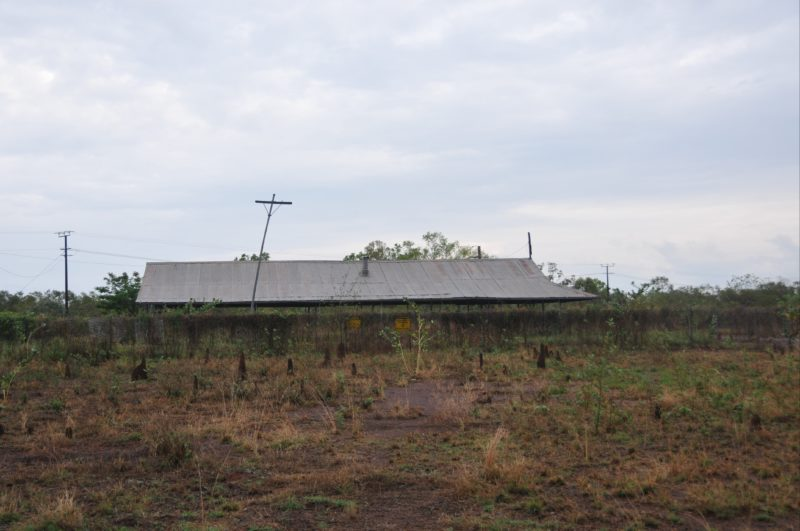 A remnant of one of two accommodation buildings approximately 100m to the west of the hangar. The second building has been demolished