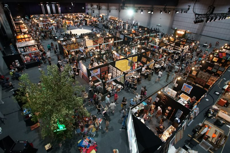 Aerial photo inside a building showing all of the exhibitors