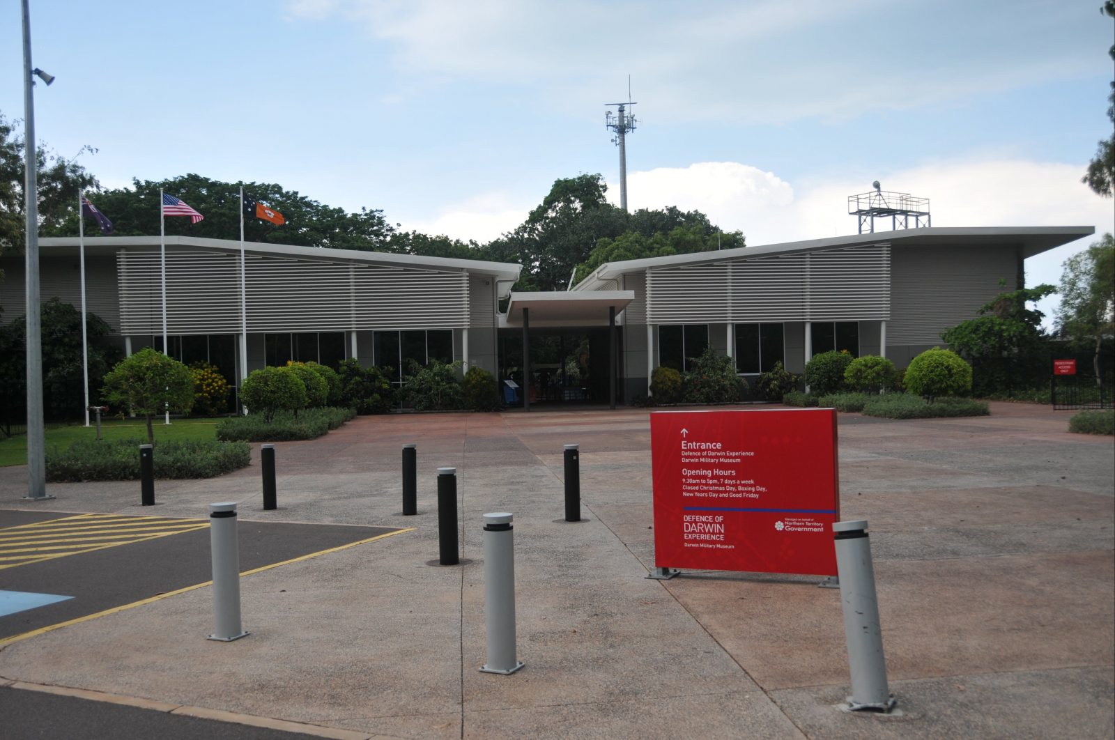 Entrance to the East Point Military Museum and the Defence of Darwin Experience at East Point. Both sites share a common entry and reception.