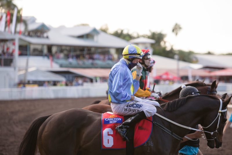 Horses and jockeys line up to race with the Darwin Turf Club in the background