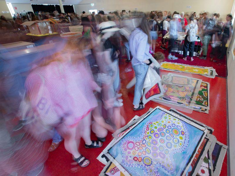 crowds at the Aboriginal art fair
