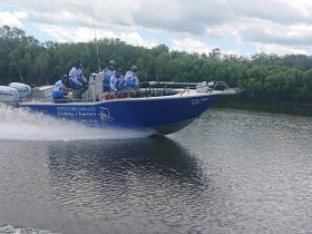 Our 7 metre boat heading up the Finniss River