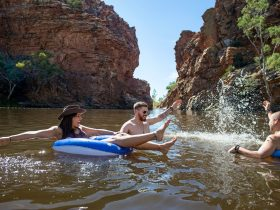 A group of friends swimming and splashing in Ellery Creek Big Hole