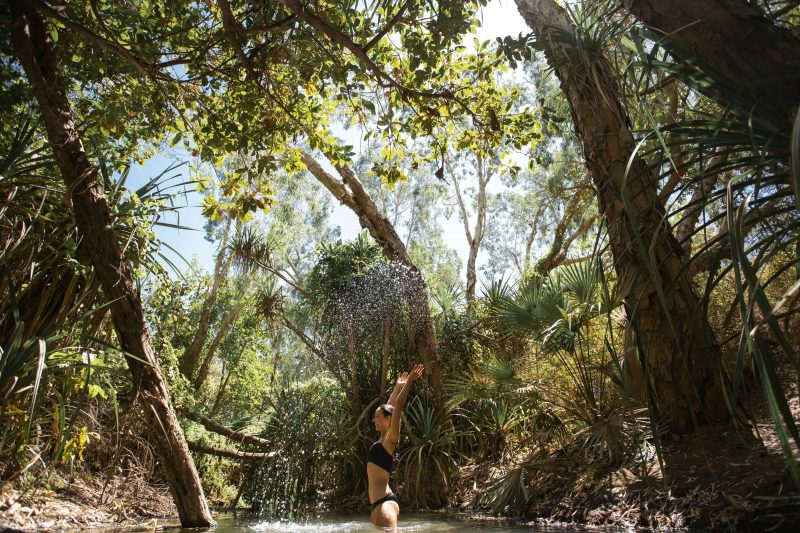 Woman standing in the water at Katherine Hot Springs