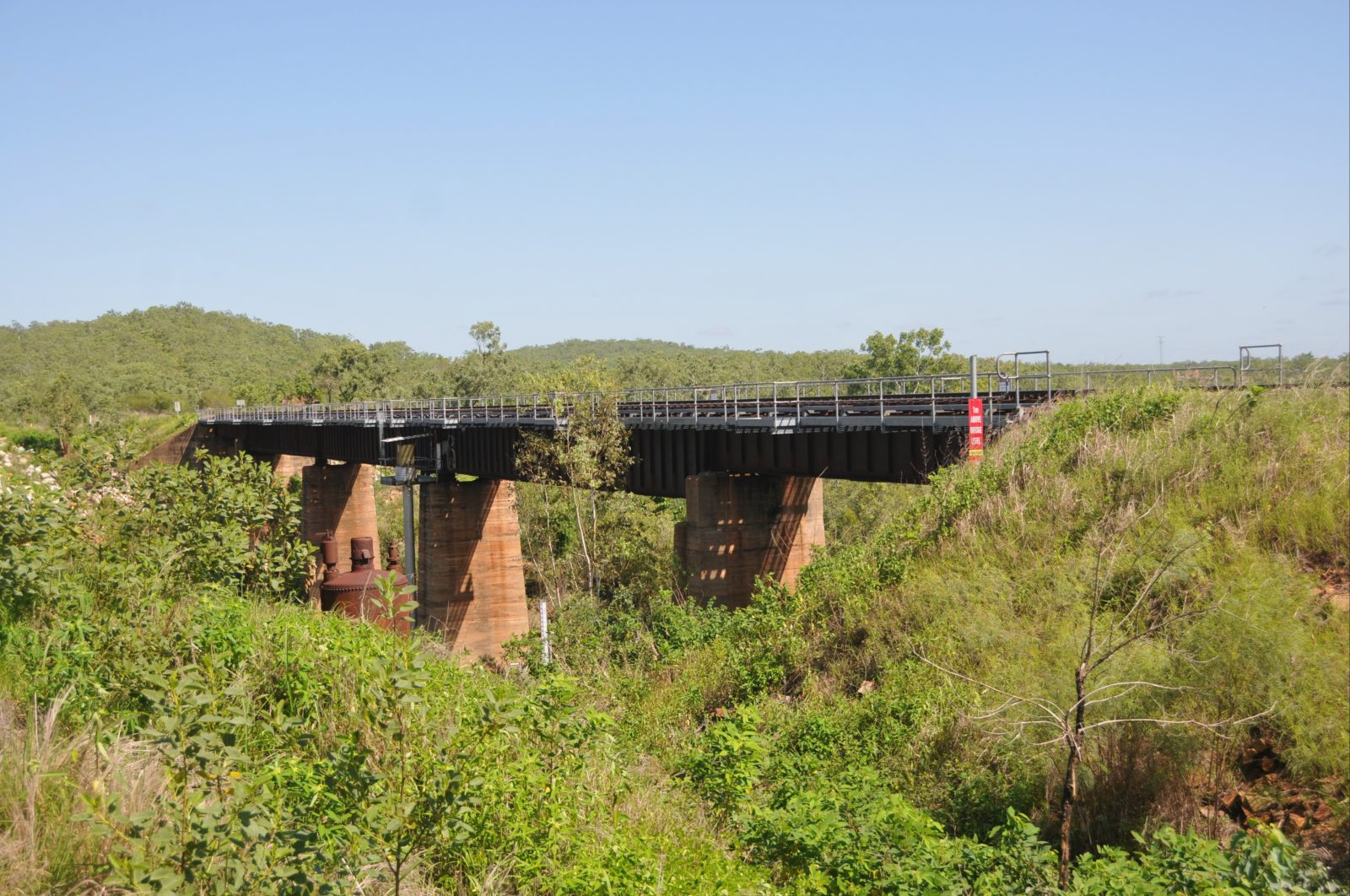 Railway Bridge and boiler, looking north, the Stuart Highway is to the left of the image.