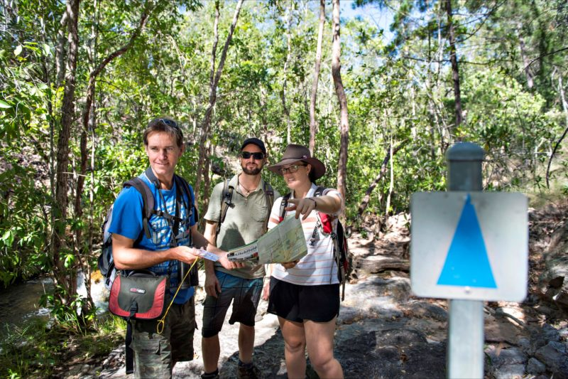 Walkers finding their way along paths in Litchfield National Park.