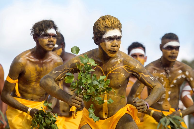 The Yolngu clans perform traditional dance each afternoon.