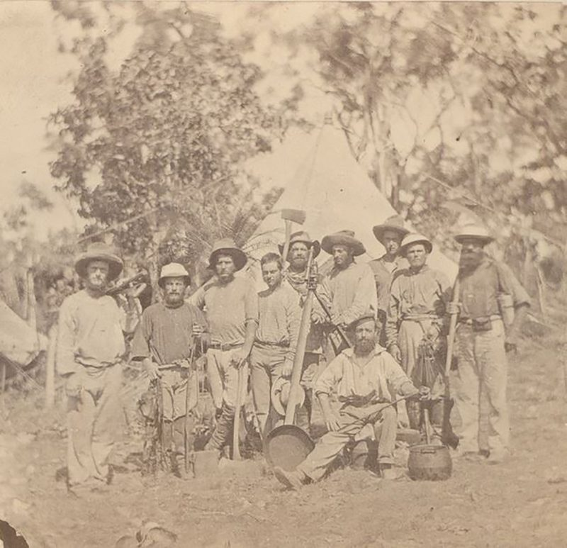 1869 - some members of Goyder's government survey party at their camp.