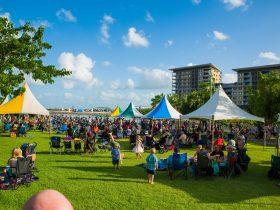many people gathered at Darwin Waterfront