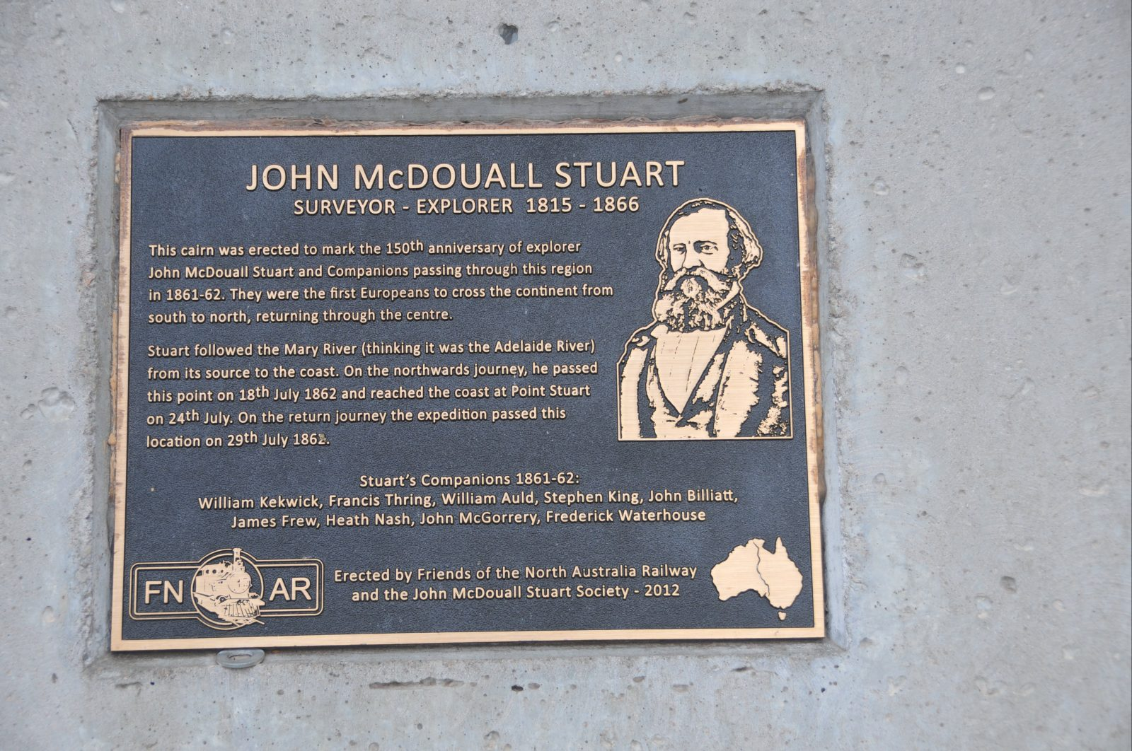 Commemorative plaque forming part of the memorial.