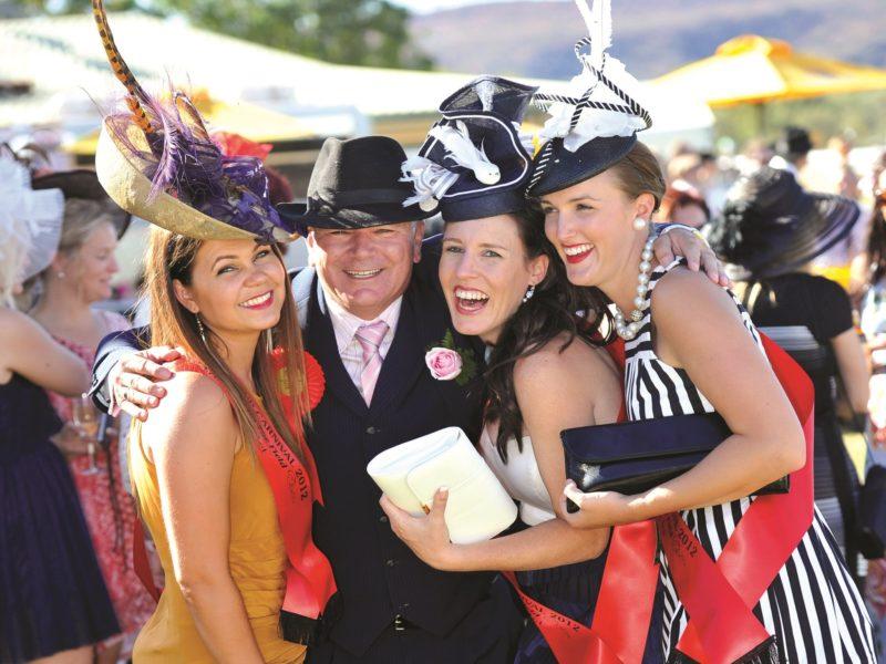 Three ladies a gentleman fashion shot