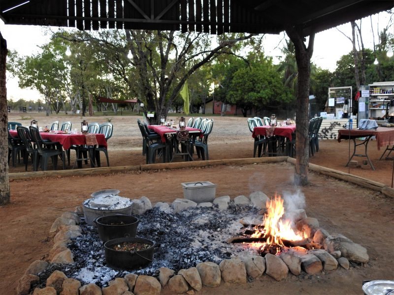 Our Bush restaurant is under the stars, so only open during the Dry season.
