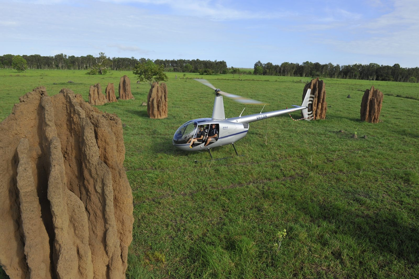 Scenic helicopter flight over cathedral termite mounds