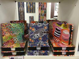 Lots of aboriginal art to choose from at Mbantua Gallery Darwin