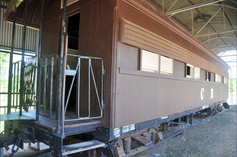 Timber-clad carriage.