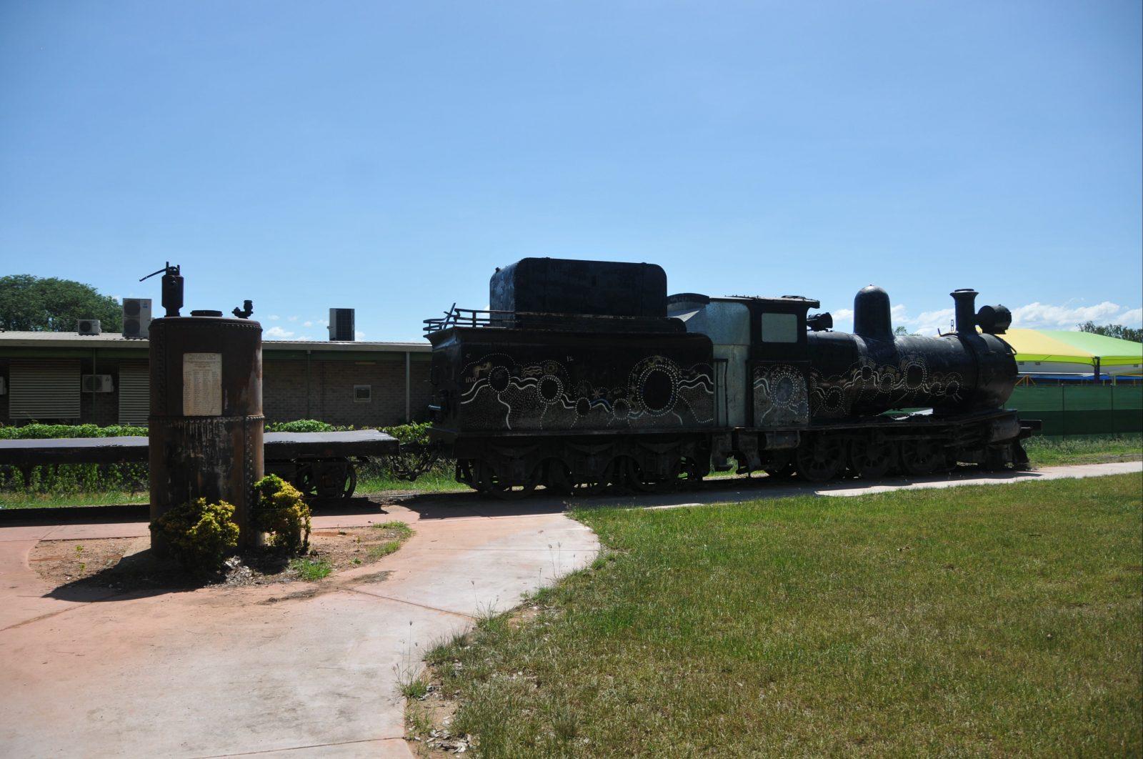 Steam traine & bioler with commemorative plaque