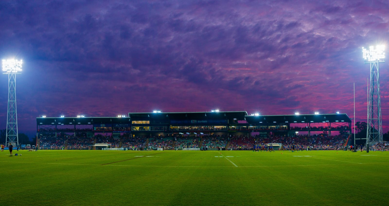 TIO Stadium at sunset