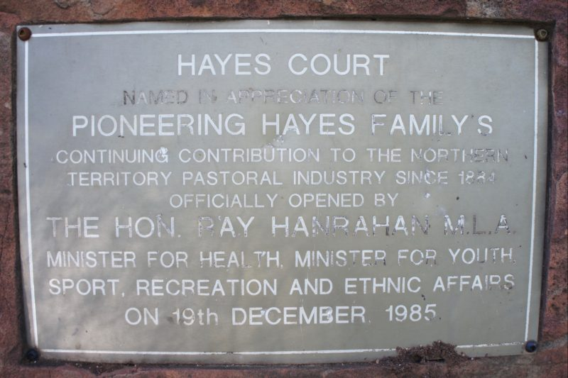 Tribute plaque to Hayes family