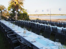 A waterfront twilight, the perfect setting for a wedding, corporate event or group dinners