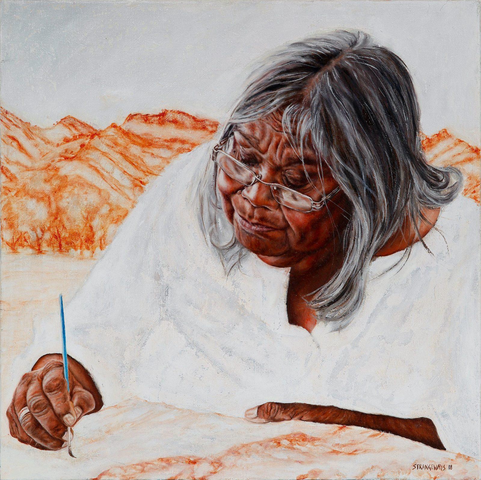 Detail from Al Strangeways portrait, Hills: Kathleen Wallace and the Dancers, Winner 2018