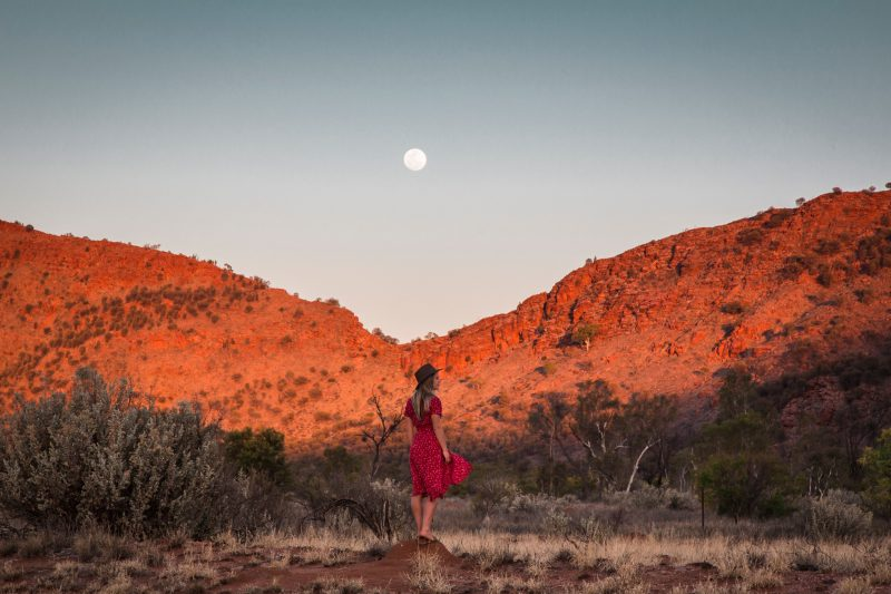 A woman exploring the West MacDonnell Ranges