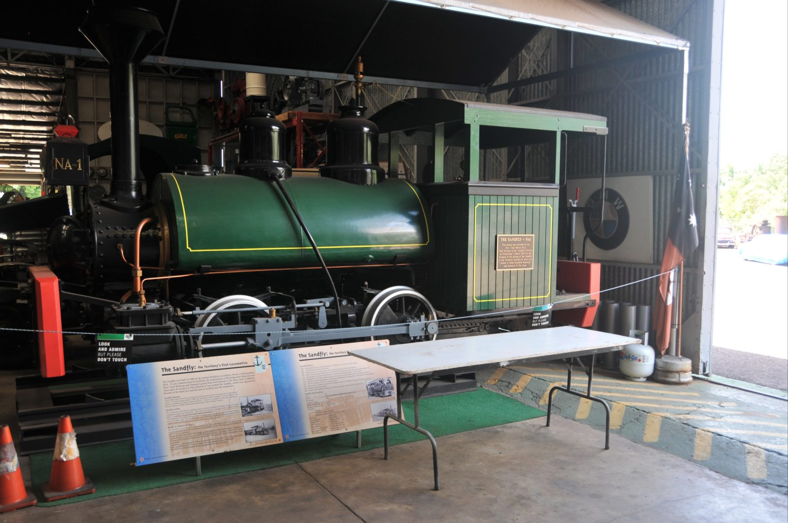 Steam locomotive in the Qantas Hangar.
