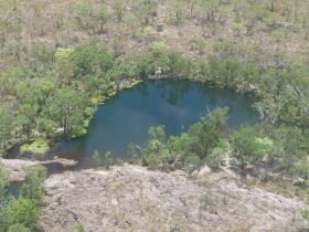 Sandy Camp Pool from the air.