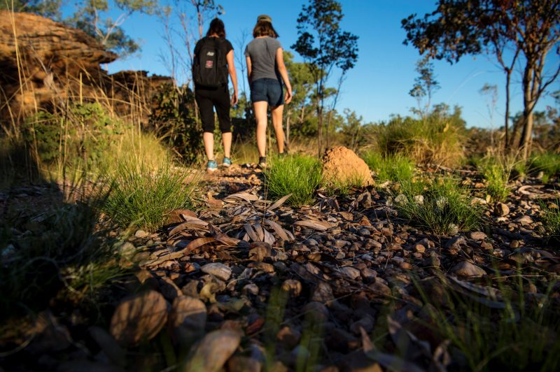 Two women walking in the Keep River National Park
