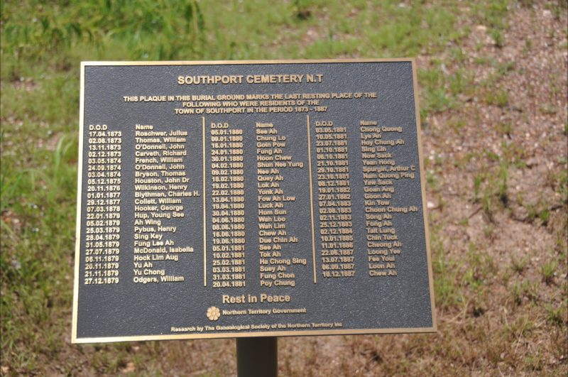 Plaque at the cemetery site – erected by the NT Government.