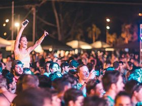 girl sitting on boys shoulders enjoying the music at the summer sessions