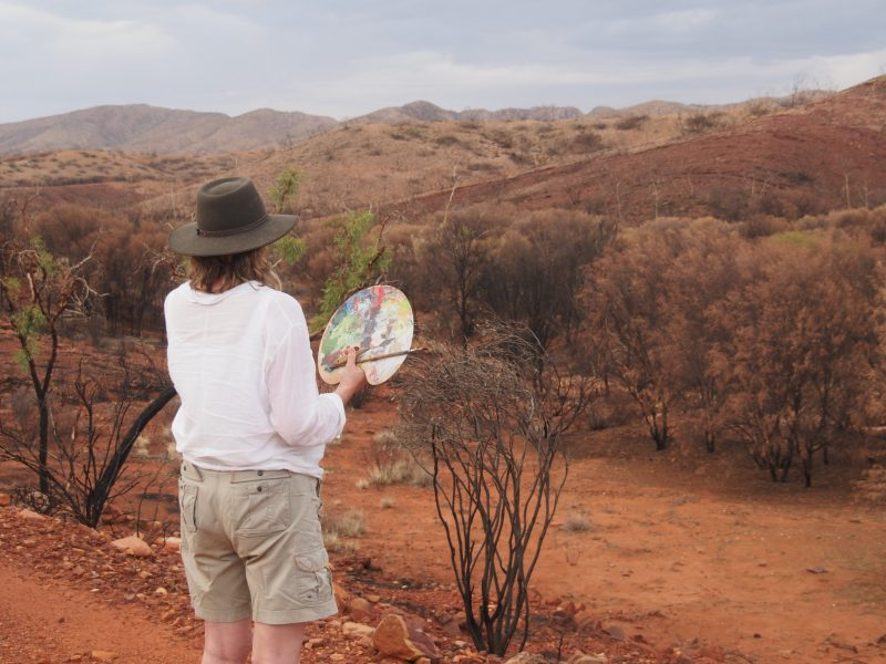 Clare looking at mulga