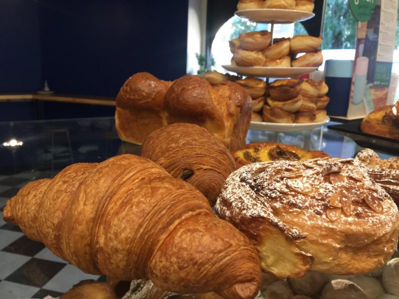 Croissant, pain au chocolat, almond scroll, brioche, Portuguese custard tarts