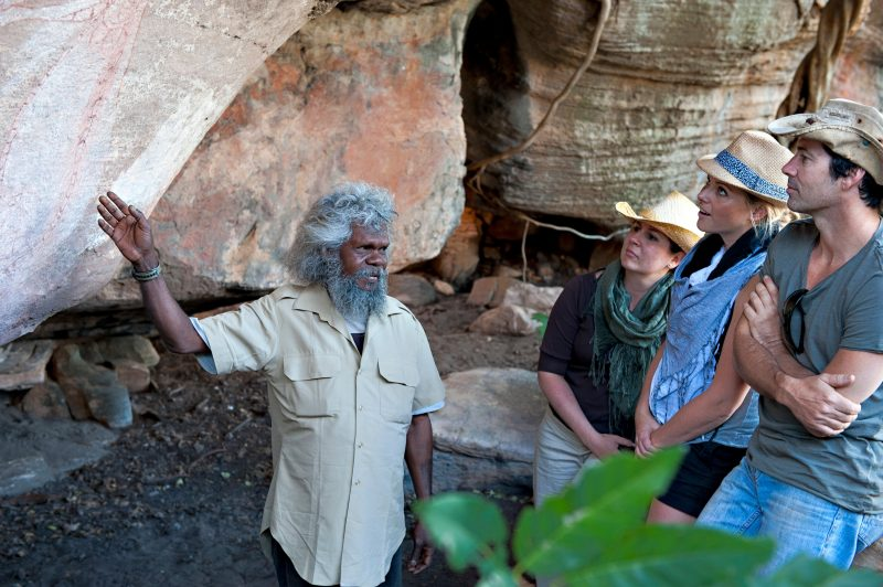 Traditional Owner interpreting rock art