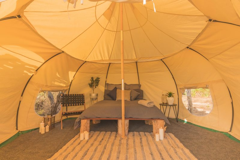 Inside the spacious Tent, stay in a comfortable double bed