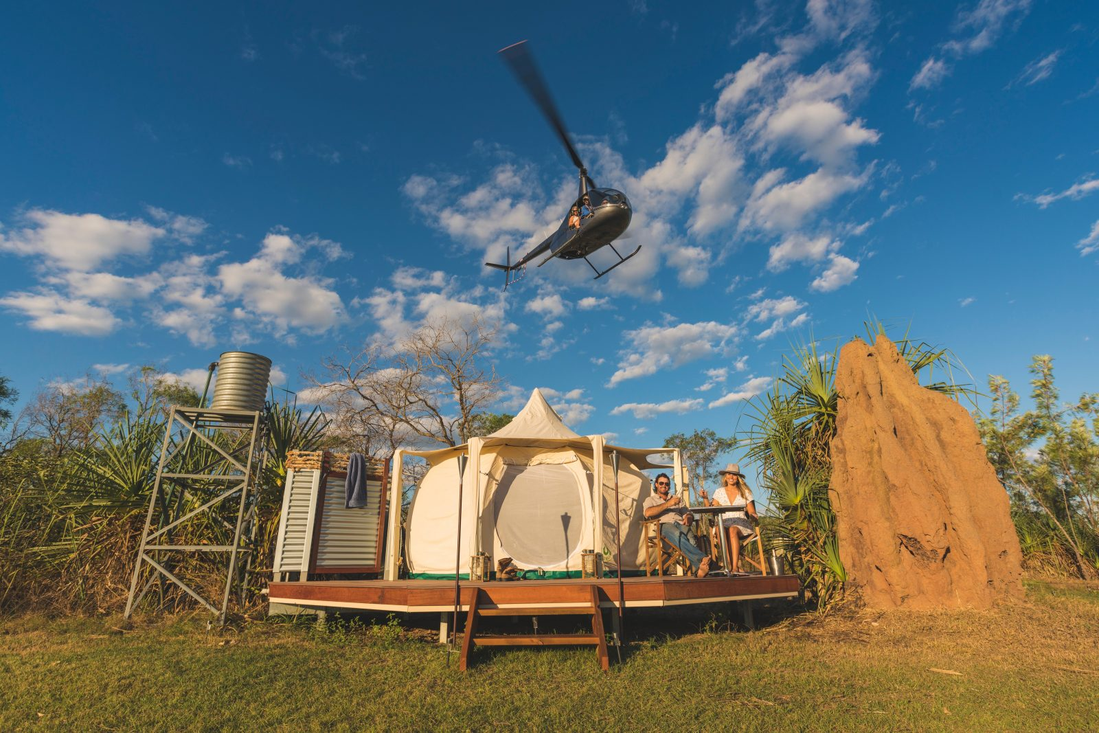 Enjoy a helicopter flight over the camp