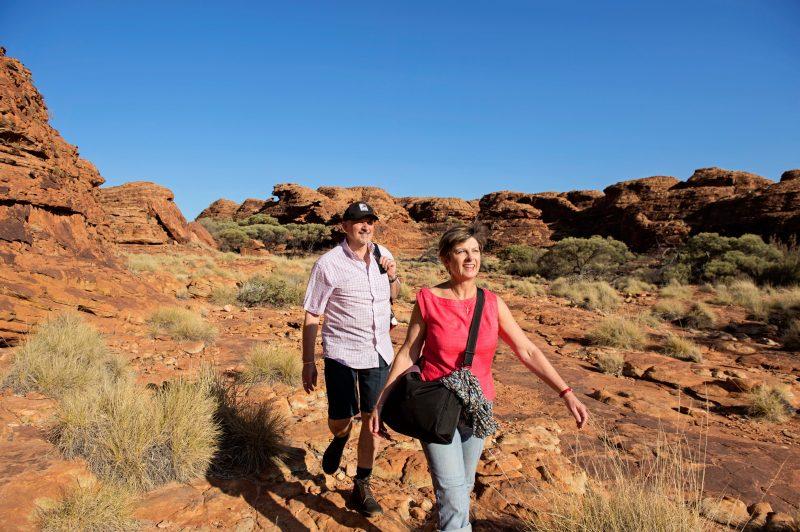 Visitors explore Kings Canyon on the rim walk.