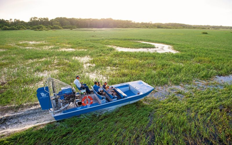 Gliding across floodplains on an airboat