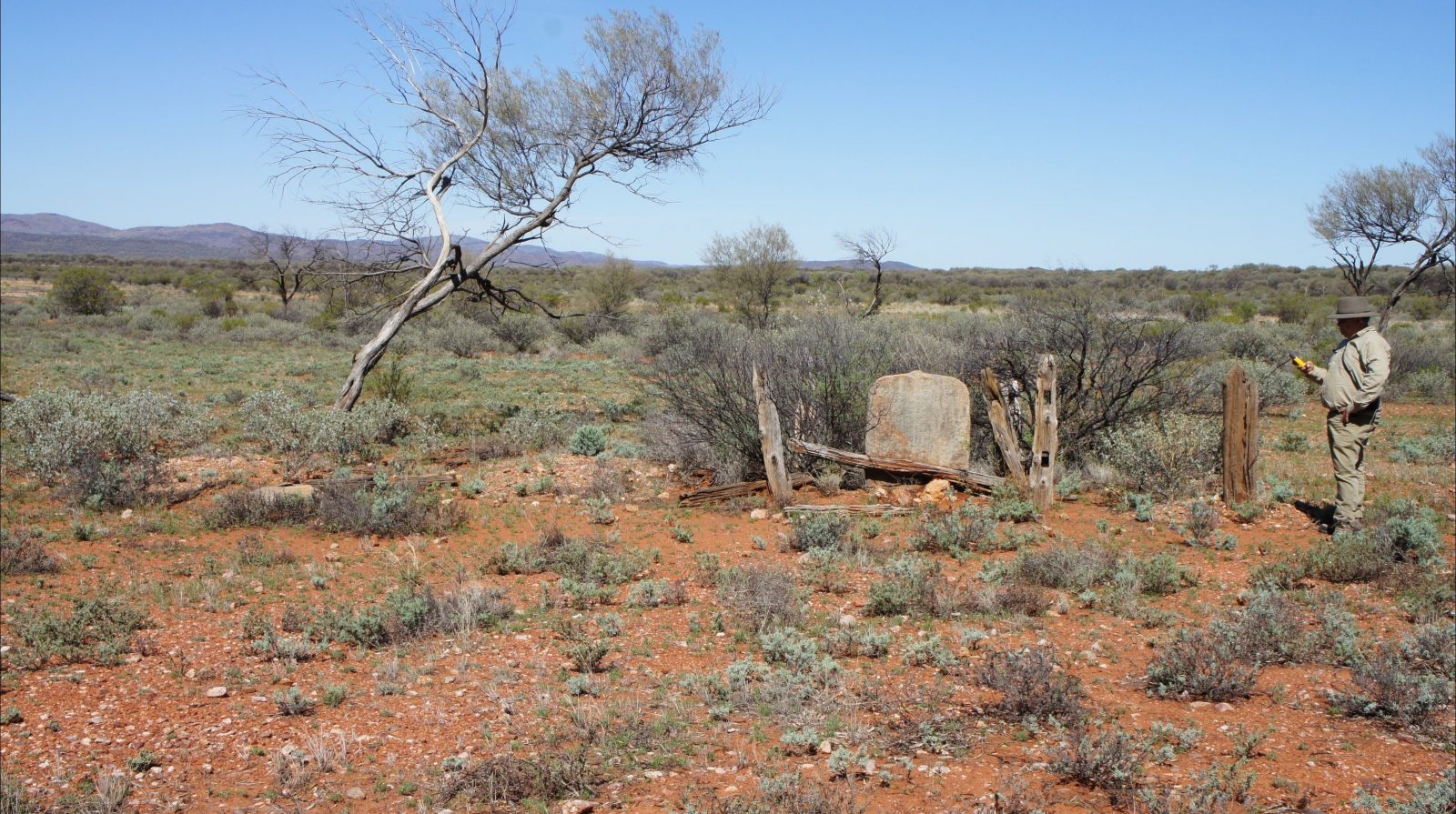The remains of graves at the Winnecke Goldfields Cemetery.